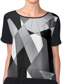 ABSTRACT LINES-1 (Black, Greys, White)-(9000 x 9000 px) Chiffon Top