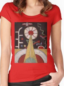 Marsden Hartley - Painting No. 3. Abstract painting: abstract art, geometric, expressionism, composition, lines, forms, creative fusion, spot, shape, illusion, fantasy future Women's Fitted Scoop T-Shirt