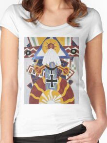 Marsden Hartley - Painting Number 49, Berline. Abstract painting: abstract art, geometric, expressionism, composition, lines, forms, creative fusion, spot, shape, illusion, fantasy future Women's Fitted Scoop T-Shirt