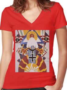 Marsden Hartley - Painting Number 49, Berline. Abstract painting: abstract art, geometric, expressionism, composition, lines, forms, creative fusion, spot, shape, illusion, fantasy future Women's Fitted V-Neck T-Shirt