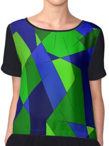 ABSTRACT LINES-1 (Blues & Greens)-(9000 x 9000 px) Chiffon Top