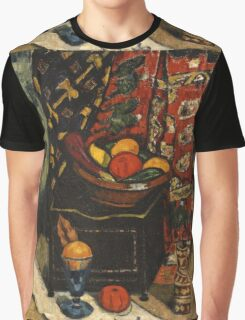 Marsden Hartley - Still Life . Still life with fruits and vegetables: still life with fruits and vegetables, fruit, vegetable, grapes, tasty, gastronomy food, flowers, dish, cooking, kitchen, vase Graphic T-Shirt
