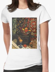 Marsden Hartley - Still Life . Still life with fruits and vegetables: still life with fruits and vegetables, fruit, vegetable, grapes, tasty, gastronomy food, flowers, dish, cooking, kitchen, vase Womens Fitted T-Shirt