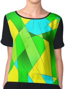 ABSTRACT LINES-1 (Greens, Light Blue & Yellow)-(9000 x 9000 px) Chiffon Top