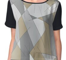 ABSTRACT LINES-1 (Grays & Beiges)-(9000 x 9000 px) Chiffon Top