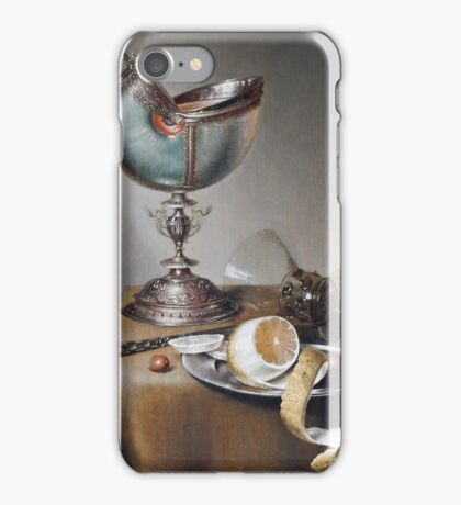 Marten Boelema De Stomme - Still-Life With Nautilus Cup . Still life with fruits and vegetables: Nautilus Cup , lemon, knife, gastronomy food, nuts, dish, glass, kitchen, vase iPhone Case/Skin