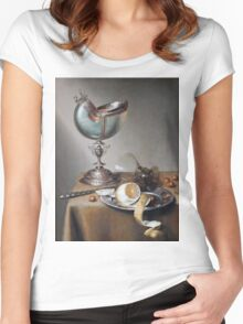 Marten Boelema De Stomme - Still-Life With Nautilus Cup . Still life with fruits and vegetables: Nautilus Cup , lemon, knife, gastronomy food, nuts, dish, glass, kitchen, vase Women's Fitted Scoop T-Shirt