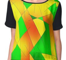 ABSTRACT LINES-1 (Greens, Oranges & Yellows)-(9000 x 9000 px) Chiffon Top