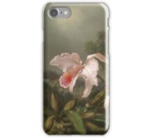 Martin Johnson Heade - Jungle Orchids And Hummingbirds. Still life with flowers: flowers, hummingbird, nest, orchid,  lotus blossom, wonderful flower, forest, passion flowers, garden, magnolias iPhone Case/Skin
