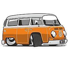 VW T2 Microbus cartoon orange Photographic Print