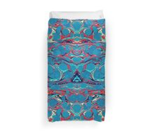 Psychedelic Blue Red Marbled Paper Duvet Cover