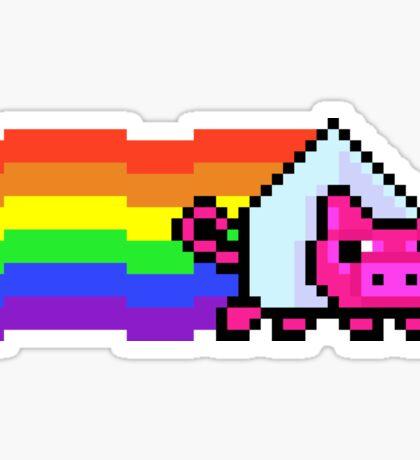 Nyan Dark Side Pink Pig - Pixels Sticker