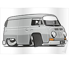 VW T2 van cartoon grey Poster