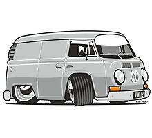 VW T2 van cartoon grey Photographic Print