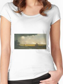 Martin Johnson Heade - Marshfield Meadows, Massachusetts 1876. Field landscape: field landscape, nature, village, garden, flowers, trees, sun, rustic, countryside, sky and clouds, summer Women's Fitted Scoop T-Shirt