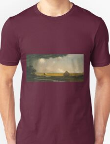 Martin Johnson Heade - Marshfield Meadows, Massachusetts 1876. Field landscape: field landscape, nature, village, garden, flowers, trees, sun, rustic, countryside, sky and clouds, summer Unisex T-Shirt