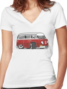VW T2 Microbus cartoon red Women's Fitted V-Neck T-Shirt