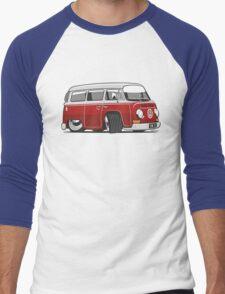 VW T2 Microbus cartoon red Men's Baseball ¾ T-Shirt