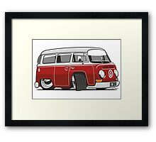 VW T2 Microbus cartoon red Framed Print