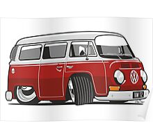 VW T2 Microbus cartoon red Poster