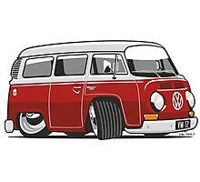 VW T2 Microbus cartoon red Photographic Print