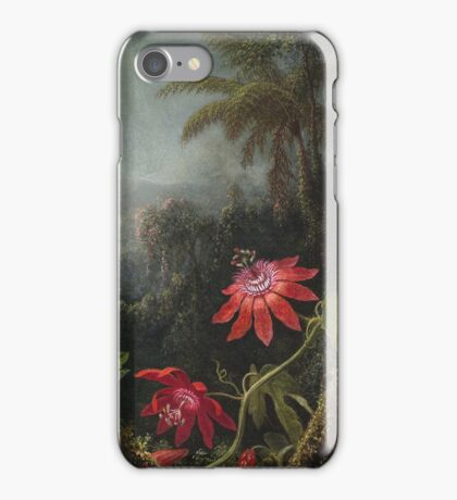 Martin Johnson Heade - Martin Johnson Heade. Garden landscape: garden view, trees and flowers, blossom,  lotus blossom, botanical park, orchid, wonderful flowers, sky, passion, magnolias, hummingbird iPhone Case/Skin