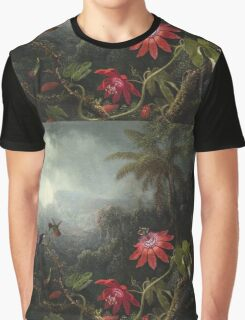 Martin Johnson Heade - Martin Johnson Heade. Garden landscape: garden view, trees and flowers, blossom,  lotus blossom, botanical park, orchid, wonderful flowers, sky, passion, magnolias, hummingbird Graphic T-Shirt