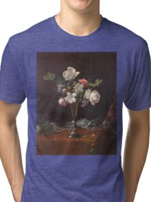 Martin Johnson Heade - Mixed Flowers With A Box And Pearls. Still life with flowers: flowers, hummingbird, nest, orchid,  lotus blossom, wonderful flower, forest, passion flowers, garden, magnolias Tri-blend T-Shirt