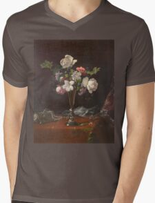 Martin Johnson Heade - Mixed Flowers With A Box And Pearls. Still life with flowers: flowers, hummingbird, nest, orchid,  lotus blossom, wonderful flower, forest, passion flowers, garden, magnolias Mens V-Neck T-Shirt