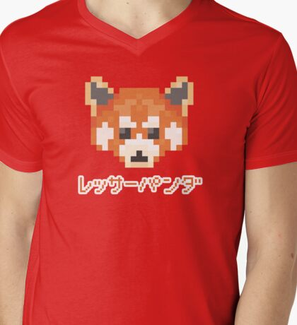 Pixel Panda! レッサーパンダ Mens V-Neck T-Shirt