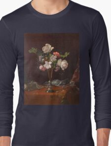 Martin Johnson Heade - Mixed Flowers With A Box And Pearls. Still life with flowers: flowers, hummingbird, nest, orchid,  lotus blossom, wonderful flower, forest, passion flowers, garden, magnolias Long Sleeve T-Shirt