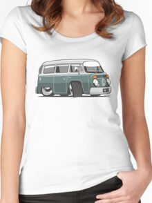 VW T2 Microbus cartoon green Women's Fitted Scoop T-Shirt