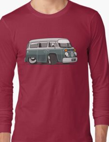VW T2 Microbus cartoon green Long Sleeve T-Shirt