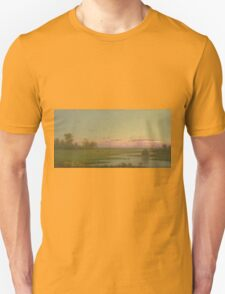 Martin Johnson Heade - Salt Marsh At Southport, Connecticut 1862. Field landscape: field landscape, nature, village, garden, flowers, trees, sun, rustic, countryside, sky and clouds, summer Unisex T-Shirt