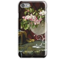 Martin Johnson Heade - Still Life With Apple Blossoms In A Nautilus Shell. Still life with flowers: Apple Blossoms, natural pearls, orchid,  lotus blossom, wonderful flower,  passion garden, magnolias iPhone Case/Skin