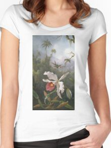 Martin Johnson Heade - Two Hummingbirds Above A White Orchid. Still life with flowers: hummingbird, nest, orchid,  lotus blossom, wonderful flower, forest, passion garden, magnolias Women's Fitted Scoop T-Shirt