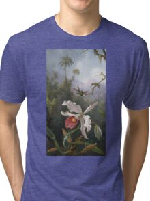 Martin Johnson Heade - Two Hummingbirds Above A White Orchid. Still life with flowers: hummingbird, nest, orchid,  lotus blossom, wonderful flower, forest, passion garden, magnolias Tri-blend T-Shirt