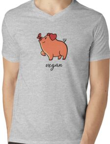 Vegan Pig Butterfly Mens V-Neck T-Shirt