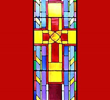 Stained Glass Crucifix - Red by i4design67
