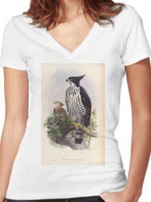 Birds of Asia John Gould 1883 V1 V7 010 Spizaetus Alboniger Women's Fitted V-Neck T-Shirt