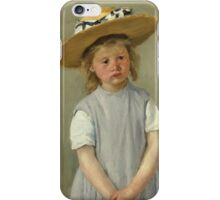 Mary Cassatt - Child In A Straw Hat. Girl portrait: cute girl, girly, hat, pretty angel, child, beautiful dress, headdress, smile, little, kids, baby iPhone Case/Skin