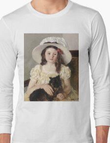 Mary Cassatt - Francoise Holding A Little Black Dog. Girl portrait: cute girl, girly, hat, pretty angel, child, beautiful dress, headdress, smile, little, dog, baby Long Sleeve T-Shirt