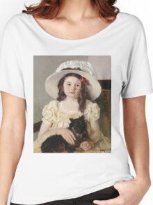 Mary Cassatt - Francoise Holding A Little Black Dog. Girl portrait: cute girl, girly, hat, pretty angel, child, beautiful dress, headdress, smile, little, dog, baby Women's Relaxed Fit T-Shirt