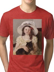 Mary Cassatt - Francoise Holding A Little Black Dog. Girl portrait: cute girl, girly, hat, pretty angel, child, beautiful dress, headdress, smile, little, dog, baby Tri-blend T-Shirt