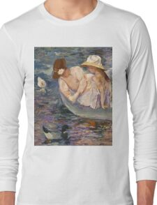 Mary Cassatt - Summertime. Mother with kid portrait: cute girl, mother and daughter, lake, boat, ducks, beautiful dress, lovely family, mothers day, memory, mom mum mammy mam, baby Long Sleeve T-Shirt