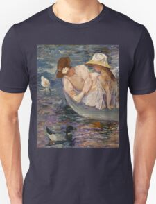 Mary Cassatt - Summertime. Mother with kid portrait: cute girl, mother and daughter, lake, boat, ducks, beautiful dress, lovely family, mothers day, memory, mom mum mammy mam, baby Unisex T-Shirt