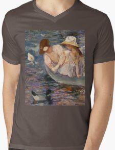 Mary Cassatt - Summertime. Mother with kid portrait: cute girl, mother and daughter, lake, boat, ducks, beautiful dress, lovely family, mothers day, memory, mom mum mammy mam, baby Mens V-Neck T-Shirt
