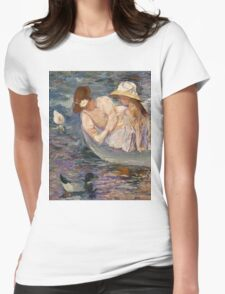 Mary Cassatt - Summertime. Mother with kid portrait: cute girl, mother and daughter, lake, boat, ducks, beautiful dress, lovely family, mothers day, memory, mom mum mammy mam, baby Womens Fitted T-Shirt