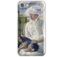 Mary Cassatt - Young Girl At A Window. Girl portrait: Young Girl, girly, female, white dress, headdress, beautiful dress, face with hairs, smile, dog, Window, view iPhone Case/Skin