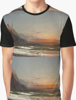 James Hamilton - Evening On The Seashore, 1867. Seashore landscape: sea view, Seashore, holiday, sunset, coast seaside, waves and beach, Evening , seascape, sun and clouds, mountain, ocean Graphic T-Shirt